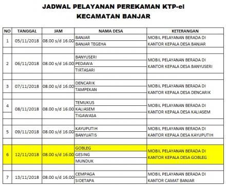 Jadwal dan Persyaratan Perekaman KTP-el Masal di Desa Gobleg