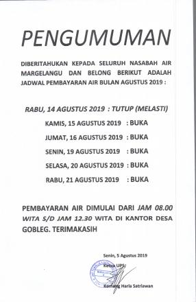 Pengumuman Jadwal Pembayaran Air Bulan Agustus 2019